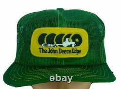 Vtg John Deere Edge Cap Snapback Trucker Chapeau Louisville Mfg Brand USA Farmer K