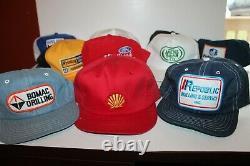Vtg Lot De 10 Snapback Trucker Mesh Hat Cap Oil Gas Farm Denim Ford Cat Fudpucke
