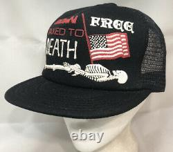 Vtg Né Libre Imposé À Mort Mesh Trucker Hat Snapback USA Flag Patriot Cap