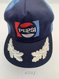 Vtg Nouveau Pepsi Cola Snap Back Mesh Trucker Chapeau Rare Blanc Feuille Inlay Sur Le Projet De Loi