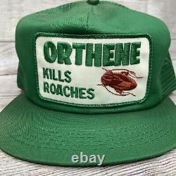 Vtg Orthene Trucker Hat Cap Snapback Patch Tue Roaches Kbrand USA Exterminateur