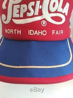 Vtg Pepsi Cola 3 Stripe Snapback Trucker Chapeau Idaho Du Nord Foire Made In USA