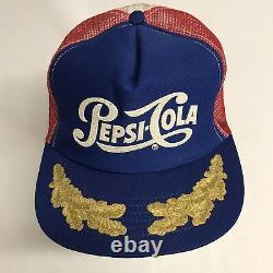 Vtg Pepsi Cola Gold Leaf Mesh Snapback Trucker Red White Blue Hat Cap 80s USA