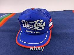 Vtg Pepsi-cola 3 Stripe Snapback Trucker Hat Cap Red White Blue Lewiston Idaho