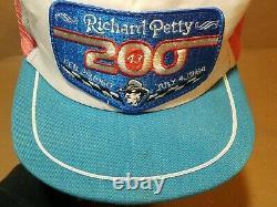 Vtg Richard Petty 200e Win Mesh Pinwheel Patch Snapback Trucker Hat Cap Fané