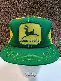 Vtg Snapback Trucker Hat Cap Farm John Deere Tracteur Jaune Mesh Farmer Seed Nos