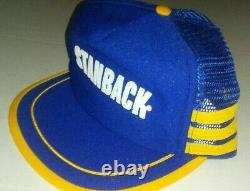 Vtg Stanback Headache Powders 3 Stripe Mesh Snapback Trucker Hat Cap USA Made