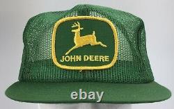 Vtg USA Made John Deere Trucker Hat Snapback Cap Green Patch Mesh Louisville Mfg