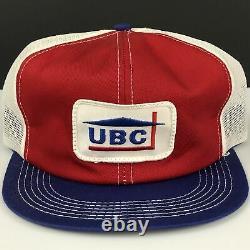 Vtg Ubc United Building Center Trucker Hat K-brand Patch Snapback Casquette De Baseball