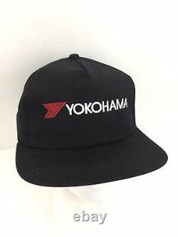 Vtg Yokohama Pneus Hat Racing Logo K-produits USA Snap Back Casquette De Camionneur De Baseball