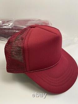Vtg Youth Blank Trucker Hat Lot Of 48 Red Maroon Snapback Mesh Cap Kc Gros