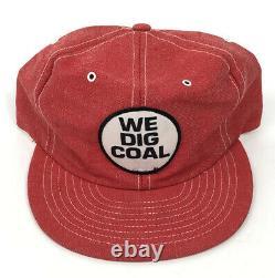 We Dig Coal Patch Snapback Red Denim Louisville Mfg Trucker Hat Vtg USA Cap Z